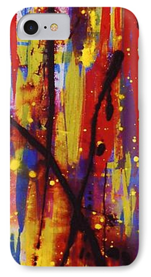 Abstract IPhone 7 Case featuring the painting Urban Carnival by Lauren Luna