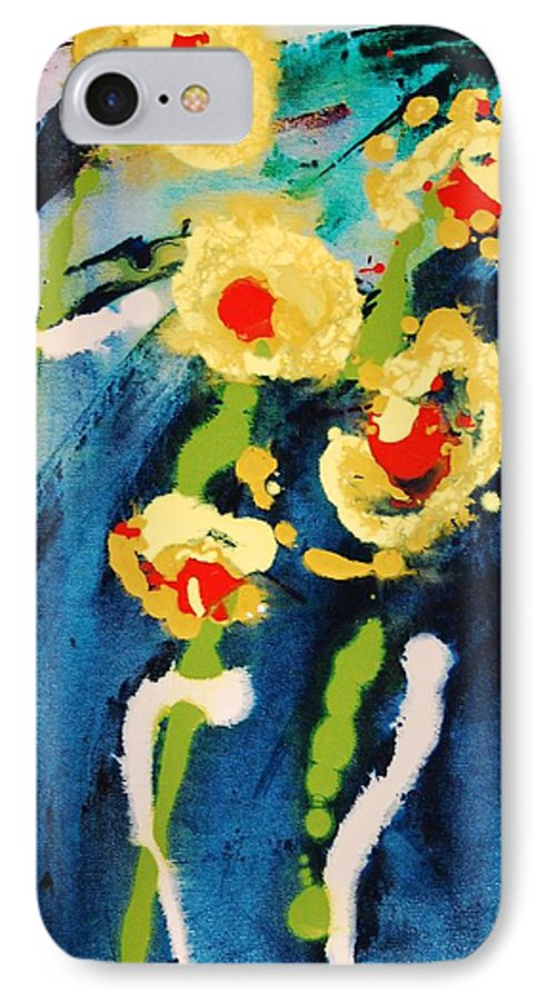 Abstract IPhone 7 Case featuring the painting Urban Garden by Lauren Luna