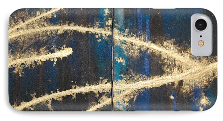 Night IPhone 7 Case featuring the painting Urban Nightscape by Lauren Luna
