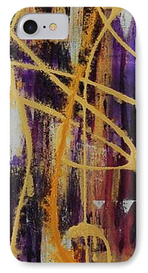 Abstract IPhone 7 Case featuring the painting Urban Royality by Lauren Luna