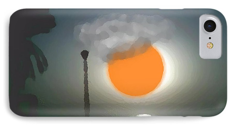 Urban.sea.sunset.sky.sun.water Sun Reflection.coast. IPhone 7 Case featuring the digital art Urban Sea Sunset by Dr Loifer Vladimir