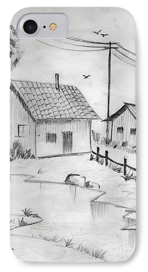 Pencil Drawing IPhone 7 Case featuring the painting Urbanisation Of Villages - Gaon Chale Shahr Ki Oar by Tanmay Singh