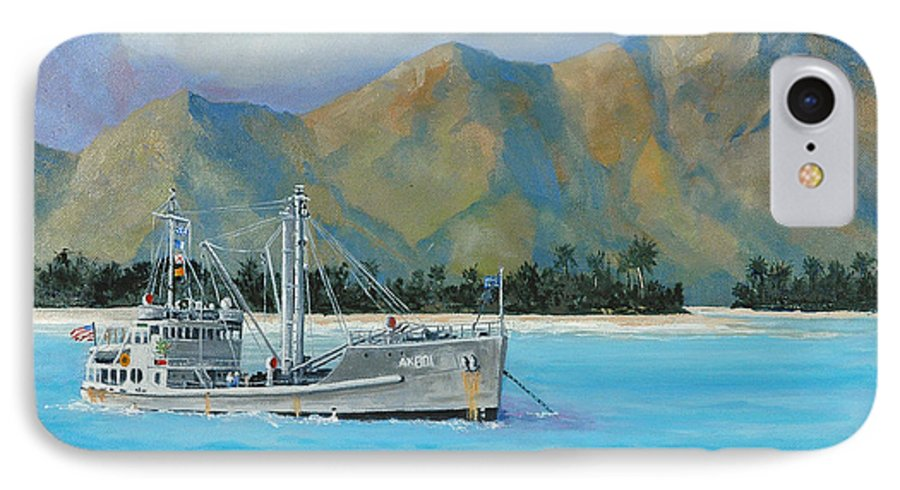 Seascape IPhone 7 Case featuring the painting Uss Reluctant Anchored Off Ennui by Glenn Secrest