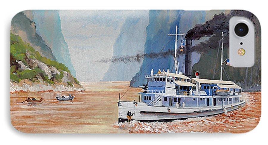 the Sand Pebbles IPhone 7 Case featuring the painting Uss San Pablo On Yangtze River Patrol by Glenn Secrest