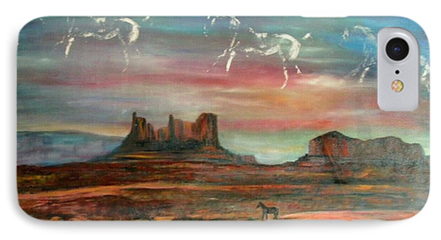 Landscape IPhone 7 Case featuring the painting Valley Of The Horses by Darla Joy Johnson