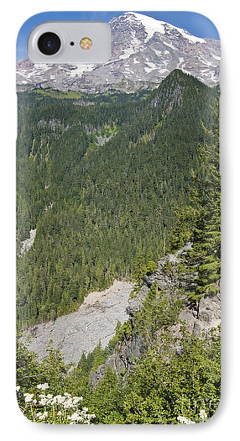 Mt. Rainier IPhone 7 Case featuring the photograph Valley View Of Mt. Rainier by Larry Keahey