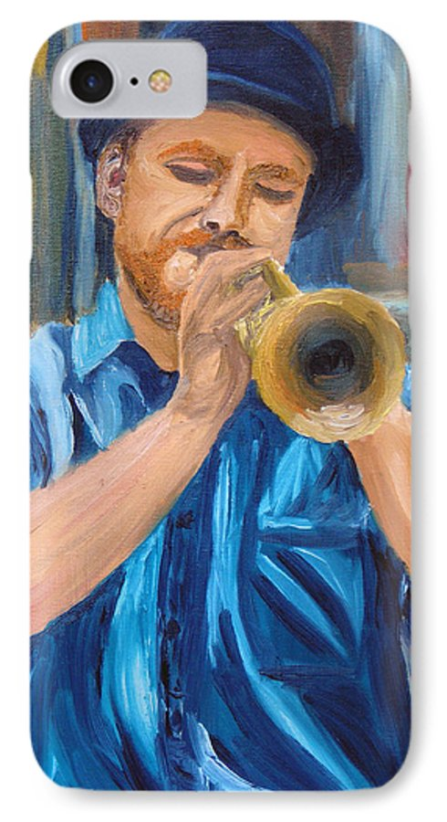 Musician IPhone 7 Case featuring the painting Van Gogh Plays The Trumpet by Michael Lee