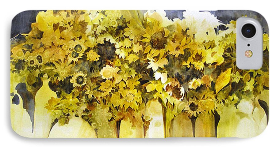 Yellow Flowers;sunflowers;vases;floral;contemporary Floral; IPhone 7 Case featuring the painting Vases Full Of Blooms  by Lois Mountz