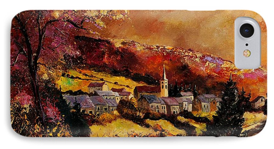 River IPhone 7 Case featuring the painting Vencimont Village Ardennes by Pol Ledent