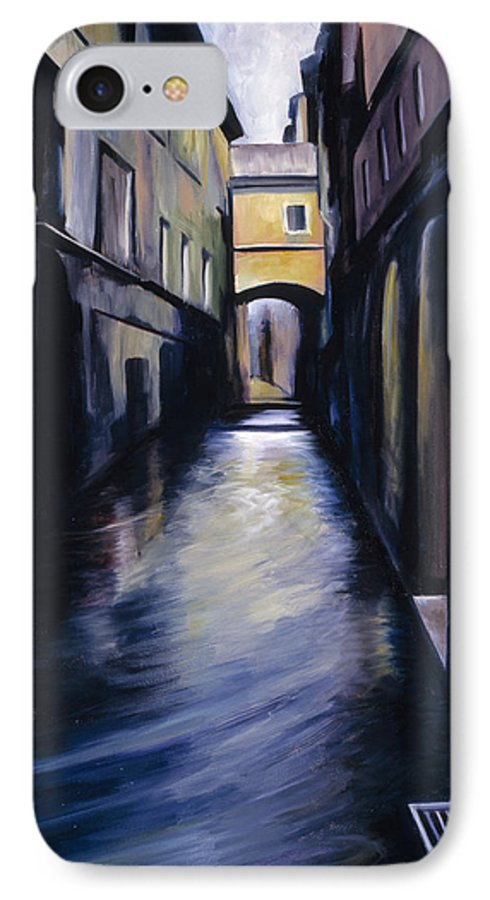 Street; Canal; Venice ; Desert; Abandoned; Delapidated; Lost; Highway; Route 66; Road; Vacancy; Run-down; Building; Old Signage; Nastalgia; Vintage; James Christopher Hill; Jameshillgallery.com; Foliage; Sky; Realism; Oils IPhone 7 Case featuring the painting Venice by James Christopher Hill