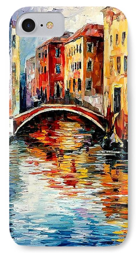 Landscape IPhone 7 Case featuring the painting Venice by Leonid Afremov