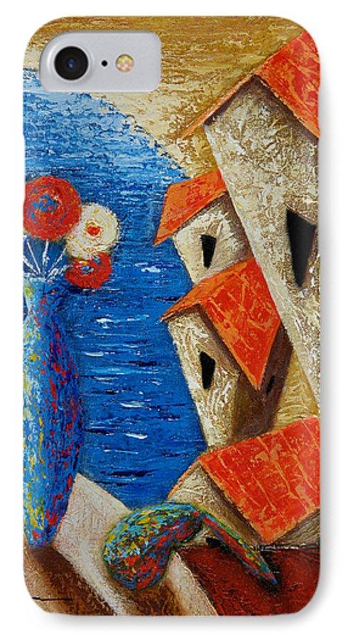 Landscape IPhone 7 Case featuring the painting Ventana Al Mar by Oscar Ortiz