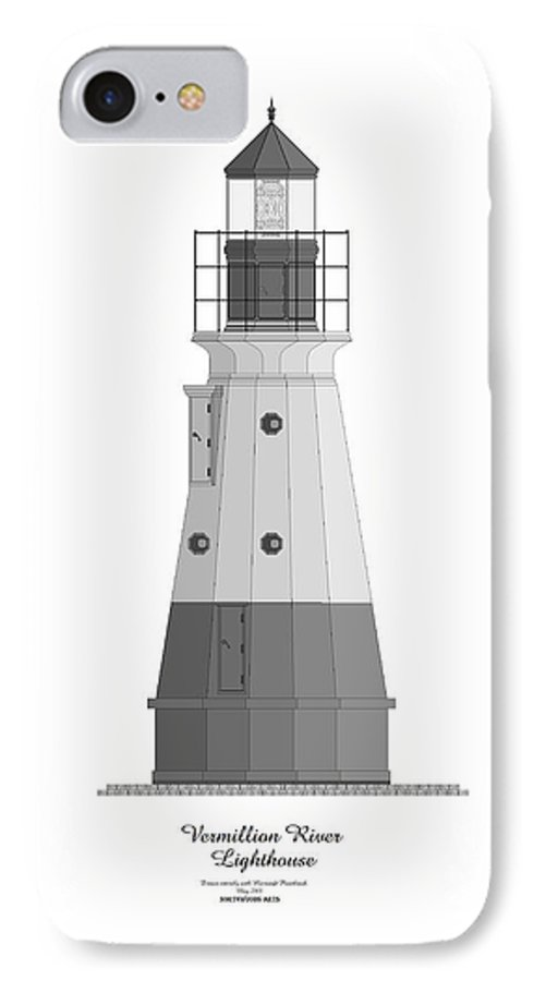Lighthouse IPhone 7 Case featuring the painting Vermillion River Lighthouse Architectural Rendering by Anne Norskog