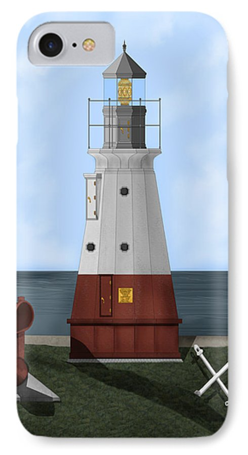 Lighthouse IPhone 7 Case featuring the painting Vermillion River Lighthouse On Lake Erie by Anne Norskog