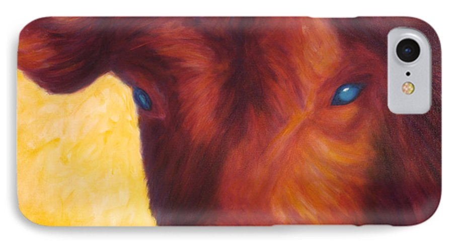 Bull IPhone 7 Case featuring the painting Vern by Shannon Grissom