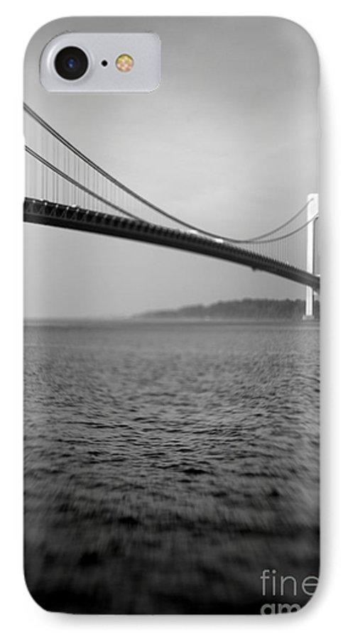 Black & White IPhone 7 Case featuring the photograph Verrazano Bridge 1 by Tony Cordoza