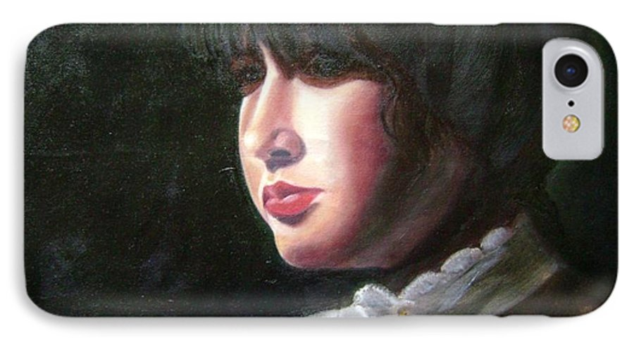 Girl In White Blouse IPhone 7 Case featuring the painting Victorian Blouse by Toni Berry