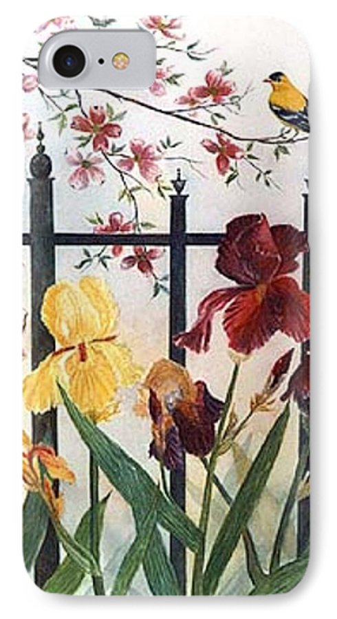 Irises; American Goldfinch; Dogwood Tree IPhone 7 Case featuring the painting Victorian Garden by Ben Kiger