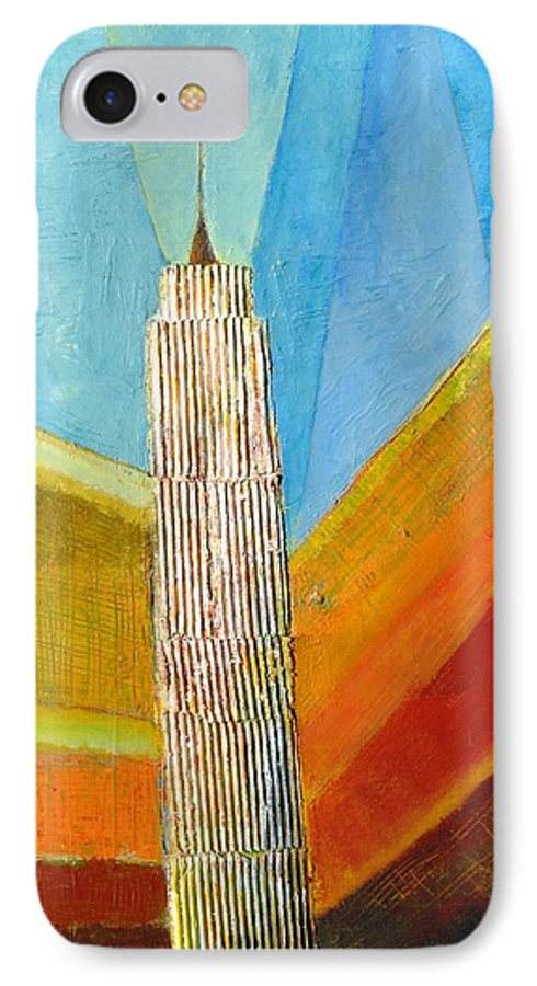 Abstract Cityscape IPhone 7 Case featuring the painting View From 34th St by Habib Ayat