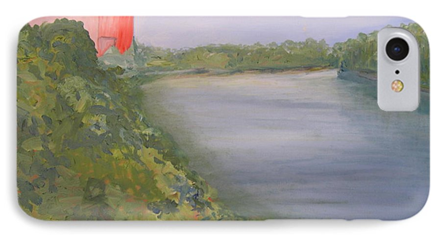 Landscape River Water Nature IPhone 7 Case featuring the painting View From Edmund Pettus Bridge by Patricia Caldwell