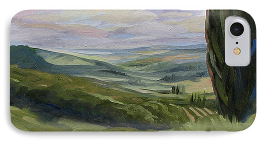 Landscape IPhone 7 Case featuring the painting View From Sienna by Jay Johnson