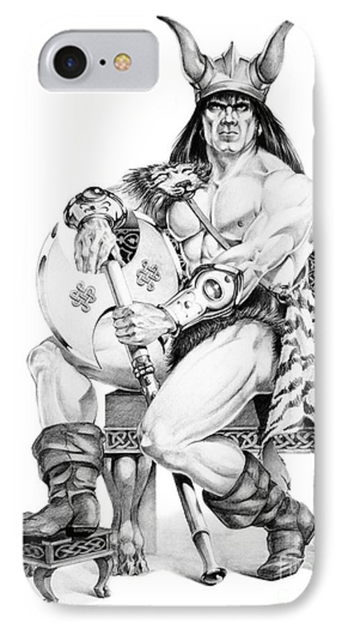 Viking IPhone 7 Case featuring the painting Viking Warrior by Melissa A Benson