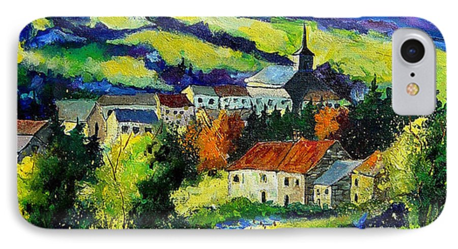 Landscape IPhone 7 Case featuring the painting Village And Blue Poppies by Pol Ledent
