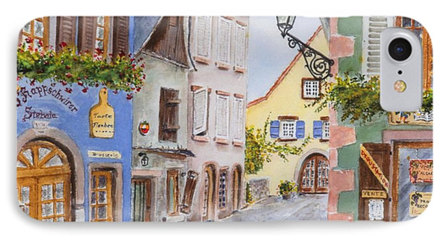 Village IPhone 7 Case featuring the painting Village In Alsace by Mary Ellen Mueller Legault