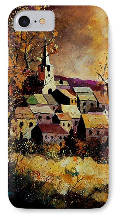 River IPhone 7 Case featuring the painting Village In Fall by Pol Ledent
