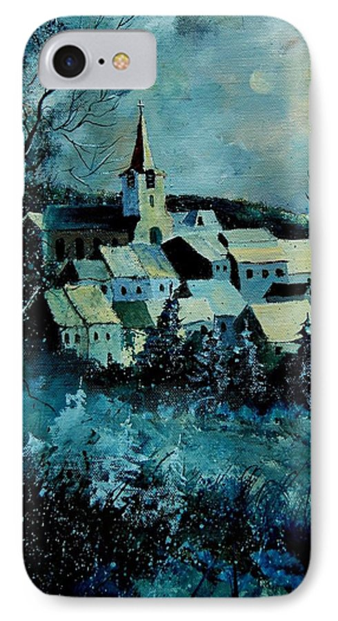 River IPhone 7 Case featuring the painting Village In Winter by Pol Ledent