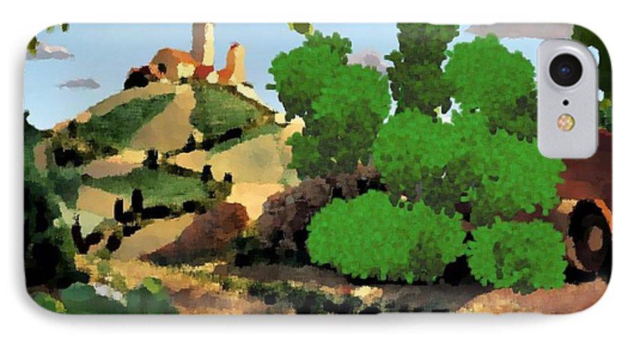 Village Old Road.trees.bushes.hill.littlt Tower.houses.farm.sky.clouds IPhone 7 Case featuring the digital art Village. Tower On The Hill by Dr Loifer Vladimir