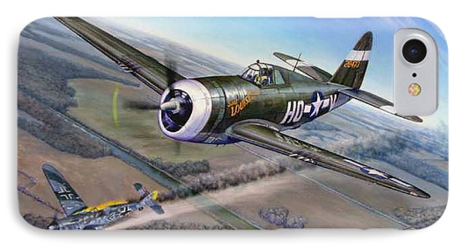 The 352nd Fighter Groups First Ace Shoots Down The German Ace Klaus Mietush On March 8th 1944 IPhone 7 Case featuring the painting Virgil Meroney Downs Klaus Mietush by Scott Robertson