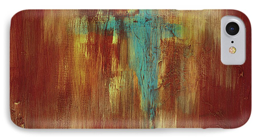 Abstract IPhone 7 Case featuring the painting Vision Quest by Tara Moorman