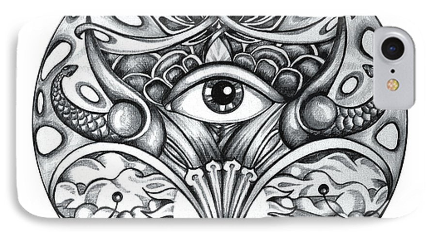 Eye IPhone 7 Case featuring the drawing Vision by Shadia Derbyshire