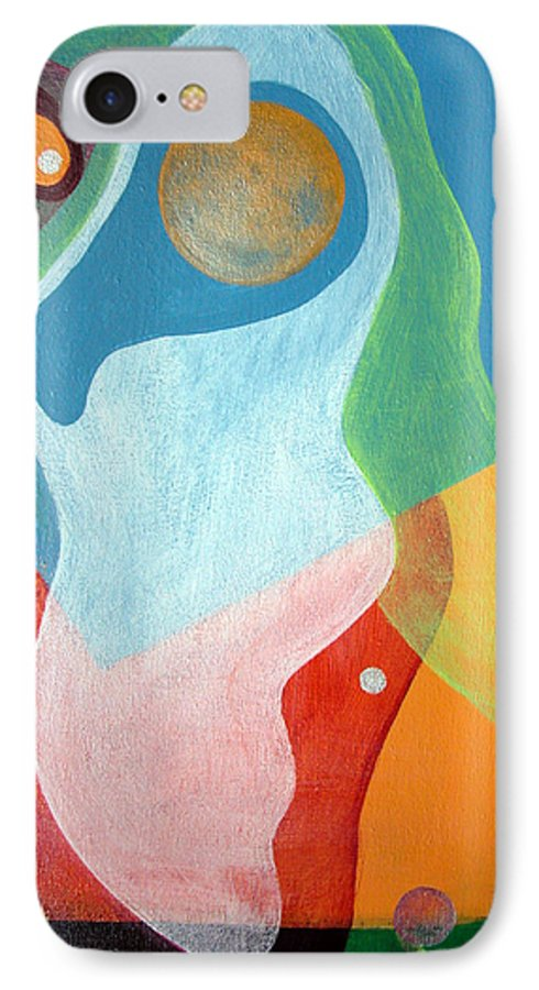 Abstract IPhone 7 Case featuring the painting Voile by Muriel Dolemieux