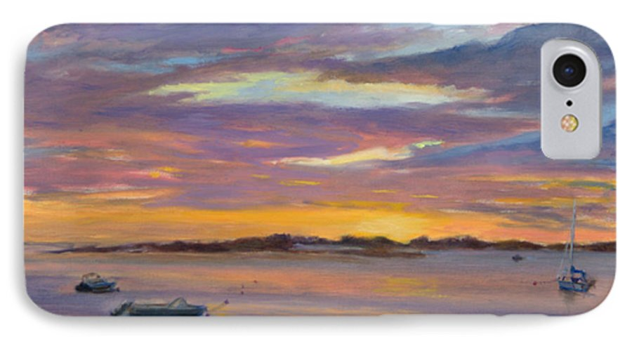 Landscape IPhone 7 Case featuring the painting Wades Beach Sunset by Phyllis Tarlow