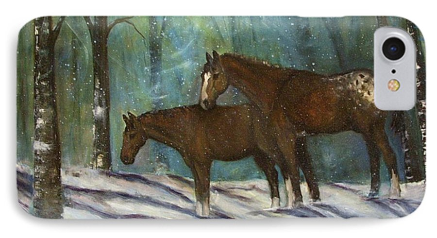 Horses IPhone 7 Case featuring the painting Waiting For Spring by Darla Joy Johnson