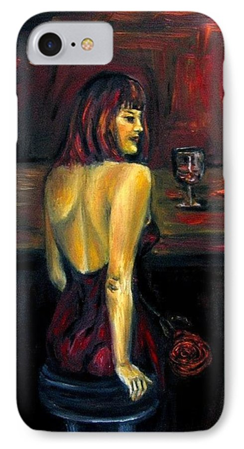 Woman IPhone 7 Case featuring the painting Waiting... Oil Painting  by Natalja Picugina