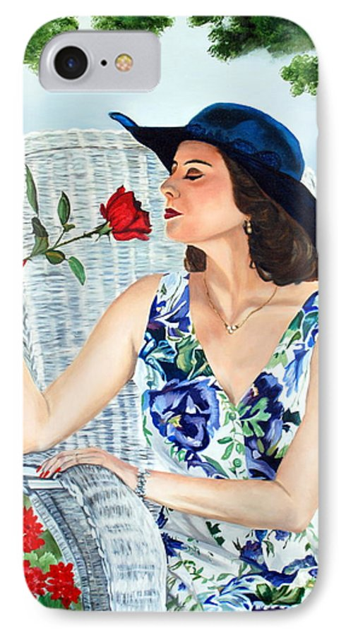 Woman IPhone 7 Case featuring the painting Wake Up And Smell The Rose by Margaret Fortunato