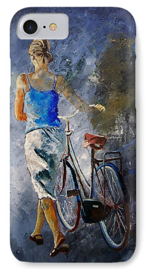 Girl IPhone 7 Case featuring the painting Waking Aside Her Bike 68 by Pol Ledent