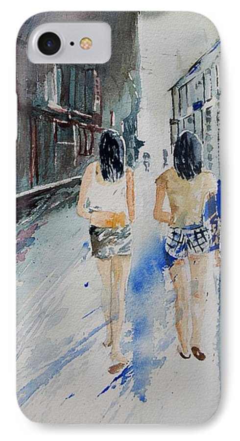Girl IPhone 7 Case featuring the painting Walking In The Street by Pol Ledent