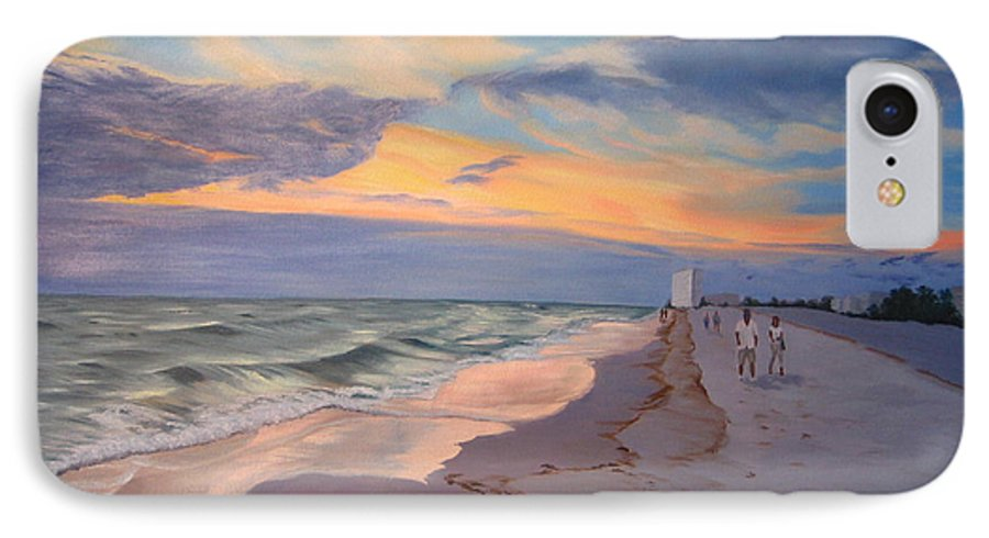 Seascape IPhone 7 Case featuring the painting Walking On The Beach At Sunset by Lea Novak