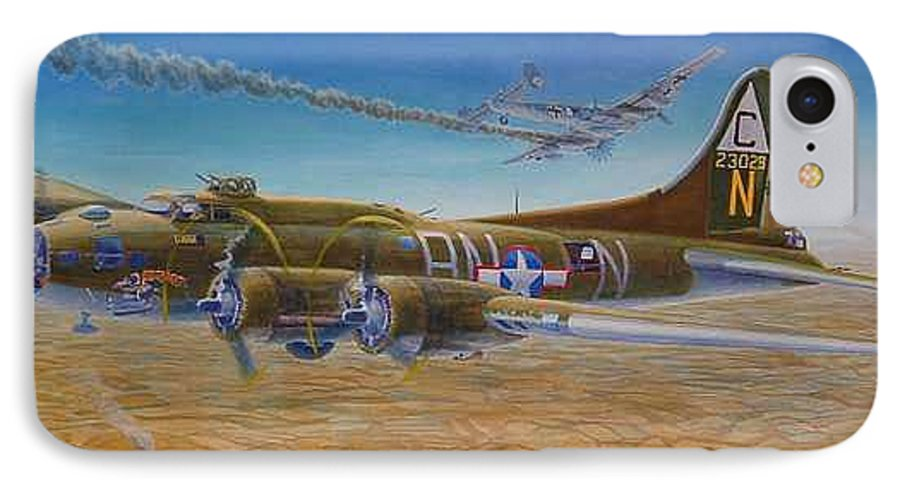 B-17 wallaroo Over Schwienfurt IPhone 7 Case featuring the painting Wallaroo At Schwienfurt by Scott Robertson