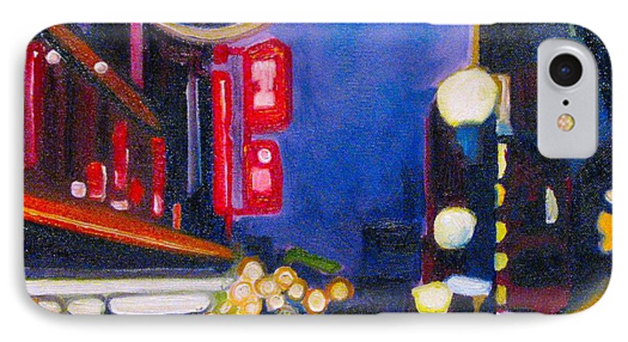 Night Scene IPhone 7 Case featuring the painting Wandering At Dusk by Patricia Arroyo