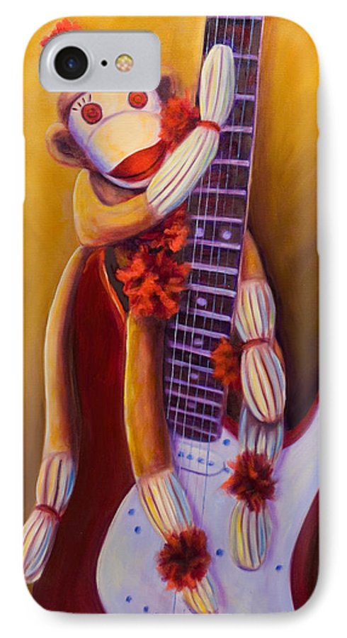 Monkey IPhone 7 Case featuring the painting Wanna Be A Rocker by Shannon Grissom