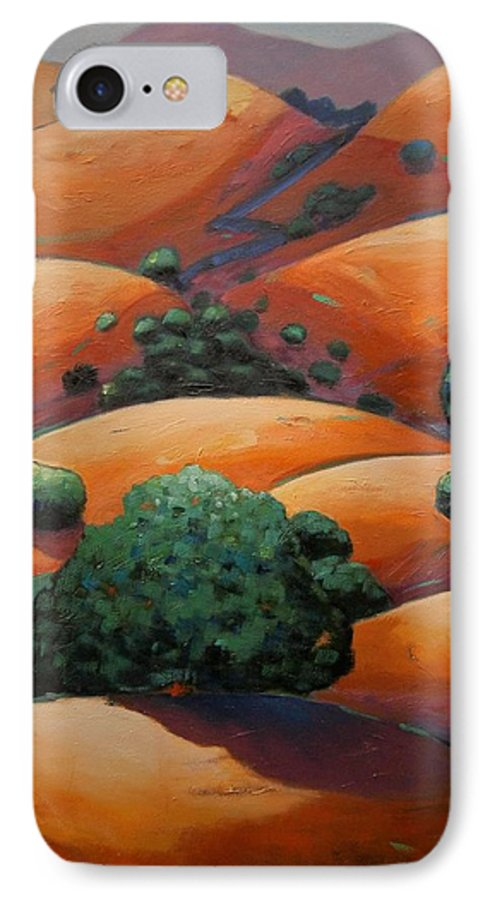 California Landscape IPhone 7 Case featuring the painting Warm Afternoon Light On Ca Hillside by Gary Coleman