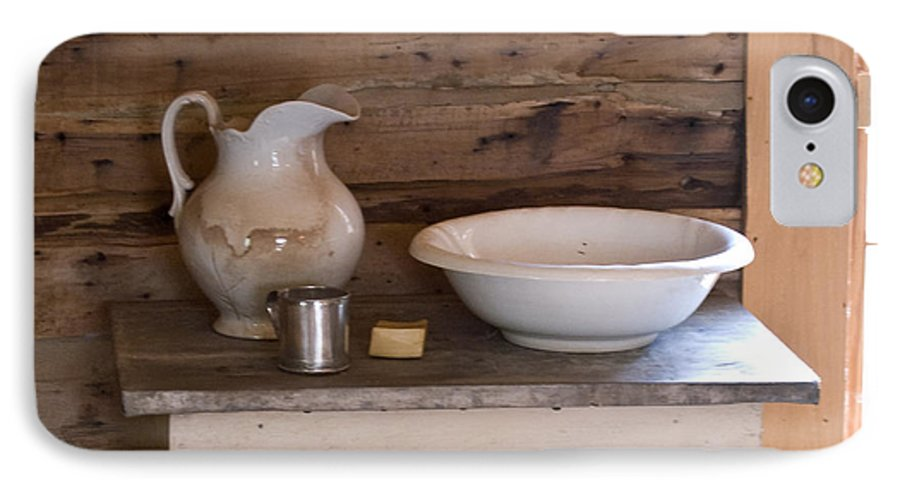 Wash IPhone 7 Case featuring the photograph Wash Bowl Pitcher And Cup by Douglas Barnett