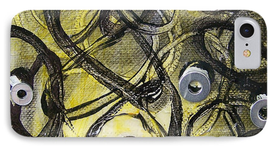 Mixed Media IPhone 7 Case featuring the painting Washer Cells by Angela Dickerson