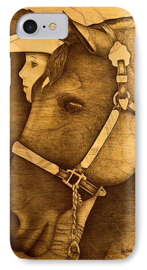 Pyrography;wood Burning; Horse; Western; Halter;cowboy; Hat; Rodeo; IPhone 7 Case featuring the pyrography Watching The Competition by Jo Schwartz