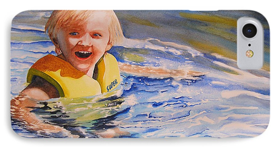 Swimming IPhone 7 Case featuring the painting Water Baby by Karen Stark